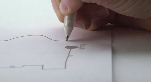 Now you can draw electronic circuits onto a notebook with a ball pen