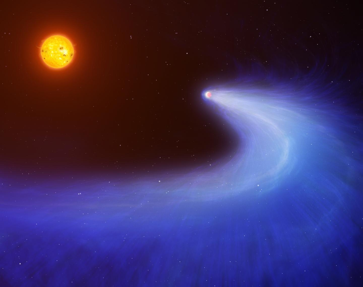 Giant planet with a comet-like tail orbiting its sun