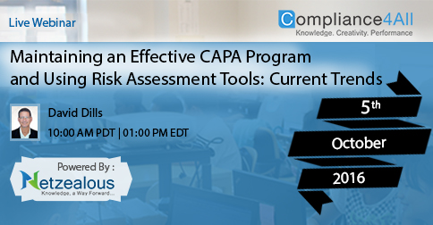 Maintaining an Effective CAPA Program in 2016 by Compliance4all