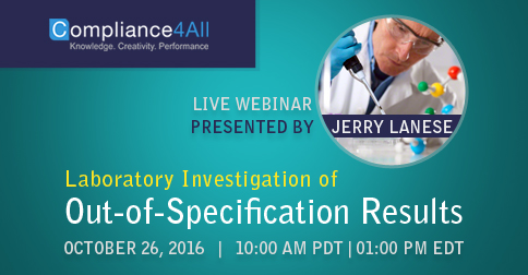 Laboratory Investigation of Out-of-Specification Results in 2016 by Compliance4all