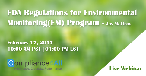 FDA Regulations for Environmental Monitoring(EM) Program