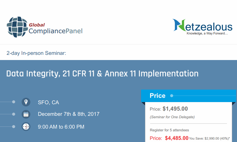 Data Integrity, 21 CFR 11 & Annex 11 Implementation 2017